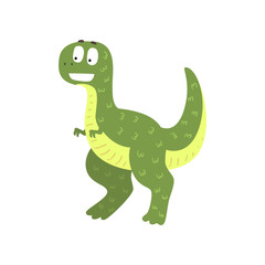 Cute cartoon green dinosaur, prehistoric dino character vector Illustration on a white background