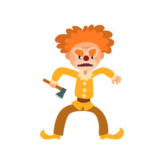 Angry red haired clown cartoon character, halloween clown with evil eyes holding axe vector Illustration on a white background