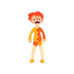 Angry red haired clown cartoon character, man in Halloween costume vector Illustration on a white background