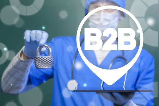 B2B medical pharmaceutical concept. Business to business healthcare security. Doctor offers a tablet pc with b2b map marker and gives padlock.