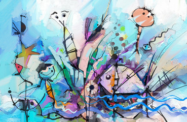 Semi- abstract of chidren, tree, fish and bird. Hand painted, children painting surreal style for background