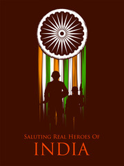Indian Army soilder nation hero on Pride of India background