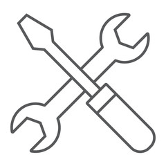 Screwdriver and wrench thin line icon, settings and repair, service sign, vector graphics, a linear pattern on a white background, eps 10.