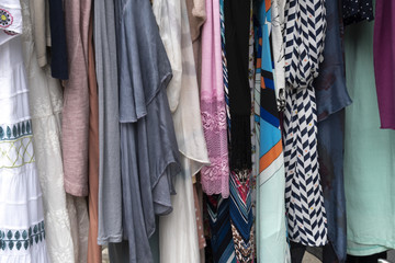 Hanging clothes and dresses