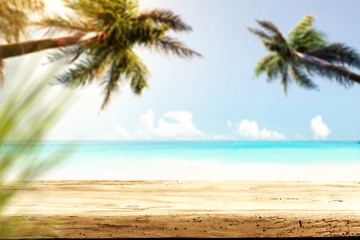 Table background and sea landscape with two palms