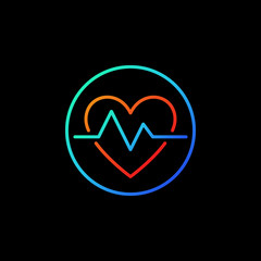 Heartbeat in blue circle vector icon or symbol in line style