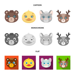 Bear, duck, mouse, deer. Animal muzzle set collection icons in cartoon,flat,monochrome style vector symbol stock illustration web.