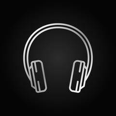 Headphone silver outline icon. Vector headphones symbol