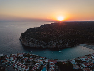 Sunset Balearic Island Aerial Drone Above Yachts Blue Water Menorca