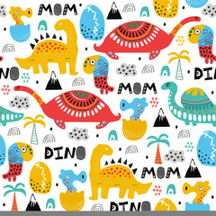 Pattern with dino,dinosaur with palms and eggs and newborn dino child. Kids drawing illustration, abstract background,textile,fabric or poster