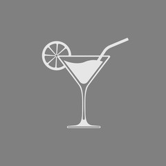 Glass with cocktail isolated on gray background. Vector icon.