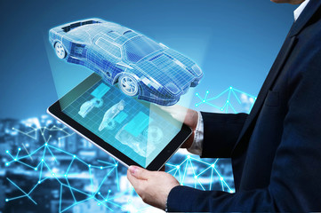 Man hold self-drive car controler with background network and blur city,3d rendering.