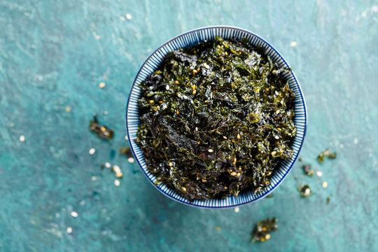 Seasoned Seaweed Snack. Top view. Food background with copy space.