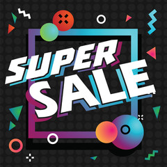 Super sale in shopping on colorful background vector illustration. Vector picture discounts in store and shopping center while seasonal sale or black friday