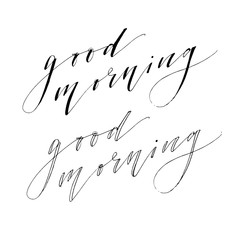 Good Morning Lettering Calligraphy Vector Text Phrase typography Type