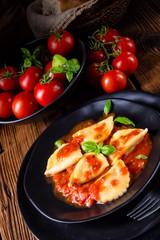 rustic Delicious Pasta - Ravioli in tomato sauce with basil