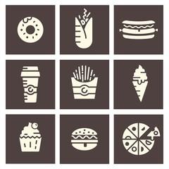Fast food. Flat icons.