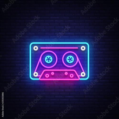 Cassetts for tape recorder neon sign vector  Retro Music