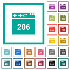 Browser 206 Partial Content flat color icons with quadrant frames