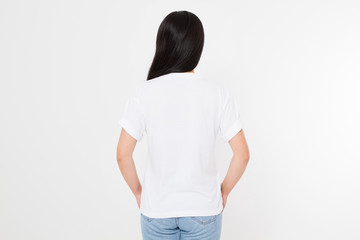 young asian japanese woman in blank white t-shirt. t shirt design and people concept. Shirts front view isolated on white background. Mock up. Copy space.
