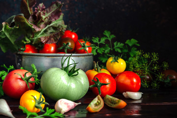 Fresh tomatoes and parsley, dill, garlic on a dark background in a rustic kitchen and wooden utensils still life with copy space