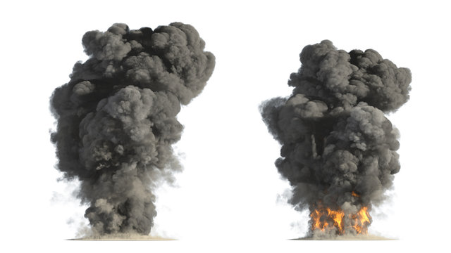 fire and smoke on white background