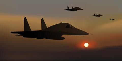 avion de chasse - russe - guerre - nuit - atterrissage - SU-34 - Russie -  combat - avion