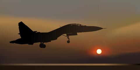 avion de chasse - russe - guerre - nuit - atterrissage - MIG-35 - Russie -  combat - avion
