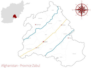 Large and detailed map of the afghan province of Zabul.
