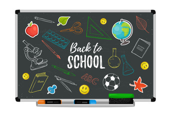 Vector illustration of college objects sketches on blackboard. School doodles. Back to school