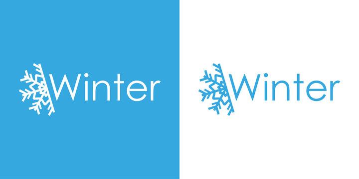 Logotipo Winter con estrella frio en azul y blanco