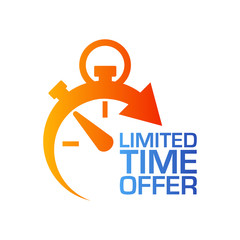 Icono plano cronometro LIMITED TIME OFFER en azul y naranja