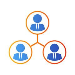 Icono plano network en azul y naranja