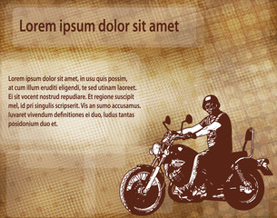 Wall Mural - motorcyclist on the abstract background - vector