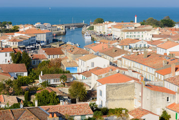 Panoramic view of Saint-Martin-de-Re from the church, Re Island, France