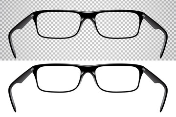 Realistic glasses for vision, back view, isolated on white