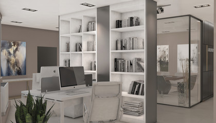Open space office in a modern style