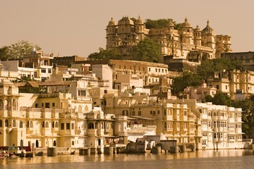 View on the city palace of udaipur in rajasthan, india, asia.