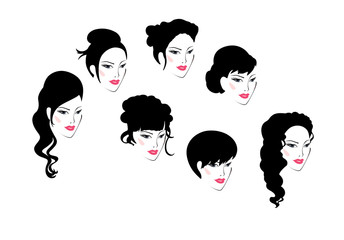 Set of 7 silhouettes of women's festive elegant hairstyles. Sign. Vector illustration