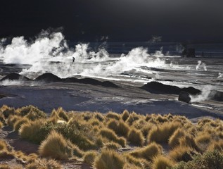 The hot springs steam most at sunrise, El Tatio Geyser Field, Region de Antofagasta, Chile, South America