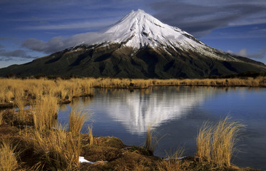 Reflection of Mount Taranaki in the Pouakai Tarns, Taranaki, Mount Egmont National Park, North Island, New Zealand, Oceania