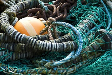 Nets and fishing equipment in the port of Sassnitz, Ruegen, Mecklenburg-Western Pomerania, Germany, Europe