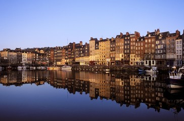 Old harbour at dawn, Honfleur, Normandy, France, Europe