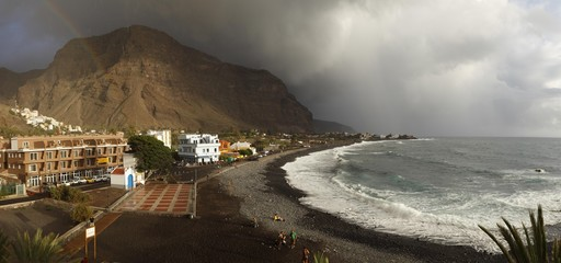 Beach in La Playa, La Calera at the top left, Valle Gran Rey, La Gomera island, Canary Islands, Spain, Europe