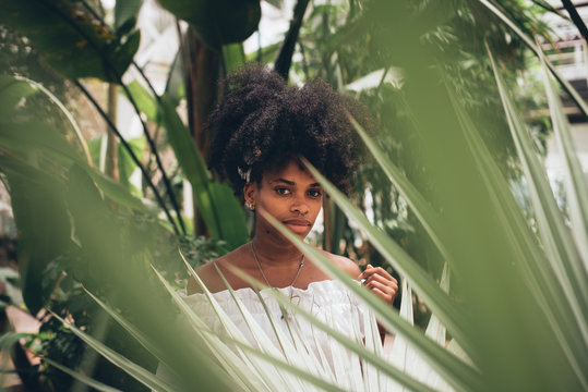Stylish black woman in tropical park