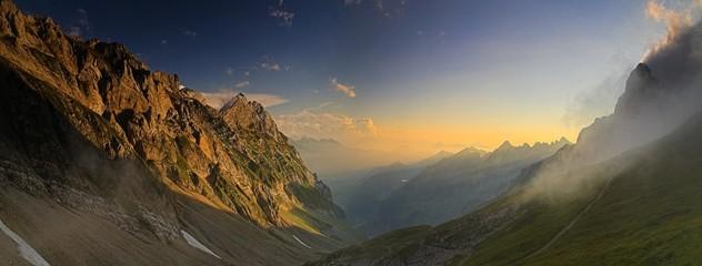 Evening mood, picture taken from Rotstein mountain pass in the Alpstein Alps, Swiss Alps, Switzerland, Europe