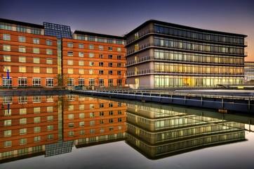 Modern buildings, dusk, Saarbruecken, Saarland, Germany, Europe