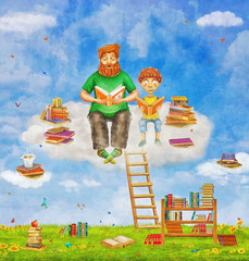 Illustration of   ginger  father  and son    reading  books   on cloud  ,many books on a glade  .Concept art.
