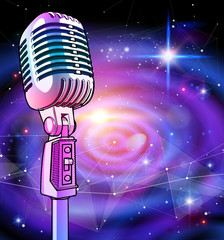 A microphone on a blue technological background is surrounded by a sound wave. Atmosphere of sound recording studio, chamber concert, night disco club or karaoke club / vector