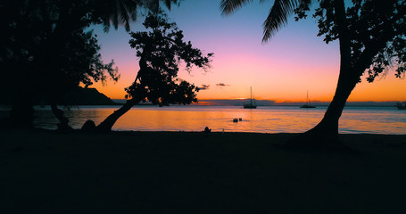 dream landscape with sunset, in french polynesie